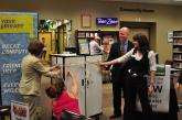 Cheyenne Mountain Library staff cut the ribbon on the new 20-laptop cart