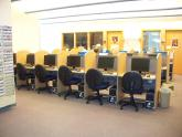 Image: A row of computers at the Baldwinsville computer center