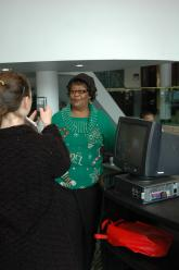 IMG: A graduate at Lorain County Community College picks up her new PC