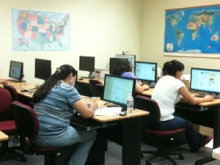 Library patrons in Douglas, Ariz. use the new computers purchased under AzPAC