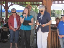 Library Trainer Crystal Schimpf gives a speech at the Miliken PCC launch