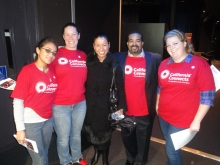 MESA students with their project evaluator Dr. Blanca Gordo at a launch event.